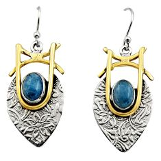 4.82cts victorian natural blue aquamarine 925 silver two tone earrings r17308