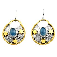 4.13cts victorian natural blue aquamarine silver two tone star earrings r17310