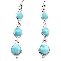 7.50cts natural blue larimar 925 sterling silver dangle earrings jewelry r17461