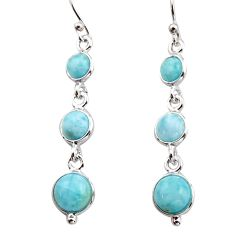 925 sterling silver 8.00cts natural blue larimar dangle earrings jewelry r17464