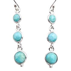 7.52cts natural blue larimar 925 sterling silver dangle earrings jewelry r17473
