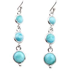 6.95cts natural blue larimar 925 sterling silver dangle earrings jewelry r17474