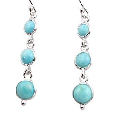 7.01cts natural blue larimar 925 sterling silver dangle earrings jewelry r17476