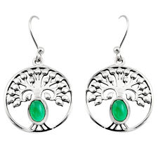2.13cts natural green chalcedony 925 silver tree of life earrings r18943