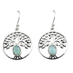 925 sterling silver 2.22cts natural aqua chalcedony tree of life earrings r18947