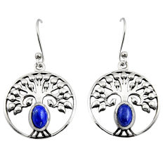 2.01cts natural blue lapis lazuli 925 silver tree of life earrings r18948