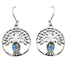 925 silver 2.23cts natural blue labradorite tree of life earrings r18951