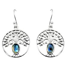 2.24cts natural blue labradorite 925 silver tree of life earrings r18953