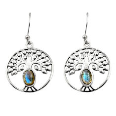 925 silver 2.13cts natural blue labradorite tree of life earrings r18954