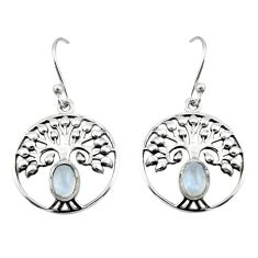 2.12cts natural rainbow moonstone 925 silver tree of life earrings r18955