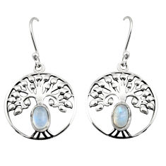 2.13cts natural rainbow moonstone 925 silver tree of life earrings r18957