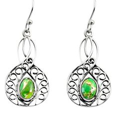 925 sterling silver 3.10cts green copper turquoise dangle earrings r18968