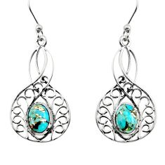 3.22cts blue copper turquoise 925 sterling silver dangle earrings jewelry r18971