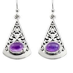 3.16cts natural purple amethyst 925 sterling silver dangle earrings r18982