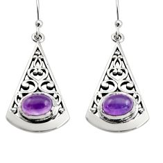 3.16cts natural purple amethyst 925 sterling silver dangle earrings r18983