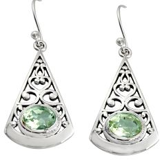 925 sterling silver 3.41cts natural green amethyst dangle earrings r18984
