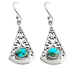 3.01cts blue copper turquoise 925 sterling silver dangle earrings jewelry r18985