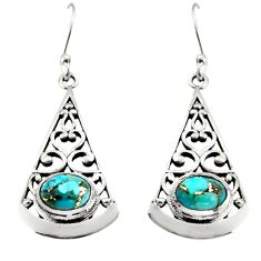 3.01cts blue copper turquoise 925 sterling silver dangle earrings jewelry r18986