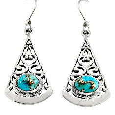 925 sterling silver 3.14cts blue copper turquoise dangle earrings jewelry r18987
