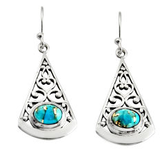 3.01cts blue copper turquoise 925 sterling silver dangle earrings jewelry r18988