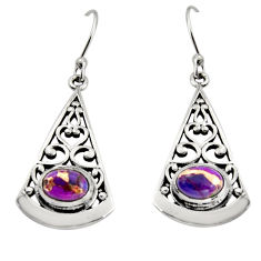 3.16cts purple copper turquoise 925 sterling silver dangle earrings r18989