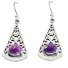 3.16cts purple copper turquoise 925 sterling silver dangle earrings r18990
