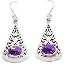 925 sterling silver 3.14cts purple copper turquoise dangle earrings r18991