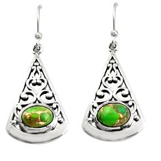 3.01cts green copper turquoise 925 sterling silver dangle earrings r18992