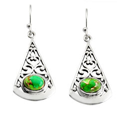 3.01cts green copper turquoise 925 sterling silver dangle earrings r18993
