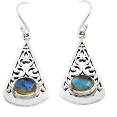 3.16cts natural blue labradorite 925 sterling silver dangle earrings r18998