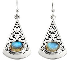 3.16cts natural blue labradorite 925 sterling silver dangle earrings r18999