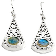 925 sterling silver 3.01cts natural blue labradorite dangle earrings r19000