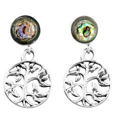 4.34cts abalone paua seashell 925 silver tree of life earrings jewelry c11656