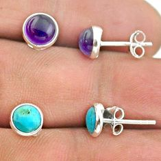 4.47cts amethyst sleeping beauty turquoise silver 2 pair studs earrings t50826