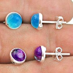 4.63cts aqua chalcedony copper turquoise 925 silver 2 pair studs earrings t50869