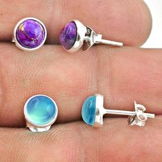 4.49cts aqua chalcedony copper turquoise 925 silver 2 pair studs earrings t50879