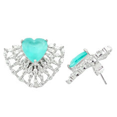 16.17cts aqua chalcedony topaz 925 silver stud heart earrings jewelry c19536