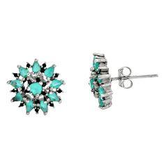 3.17cts aqua chalcedony topaz 925 sterling silver earrings jewelry c9307