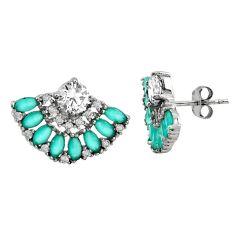 6.46cts aqua chalcedony topaz 925 sterling silver stud earrings c9210