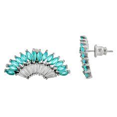 5.76cts aqua chalcedony topaz 925 sterling silver stud earrings c9211