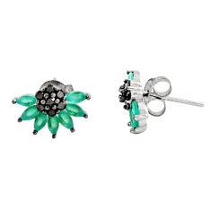 3.97cts aqua chalcedony topaz 925 sterling silver stud earrings c9263