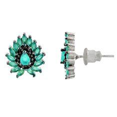 4.47cts aqua chalcedony topaz 925 sterling silver stud earrings c9517
