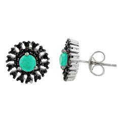 3.85cts aqua chalcedony topaz 925 sterling silver stud earrings c9534