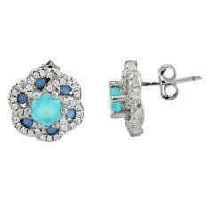 2.81cts aqua chalcedony topaz 925 sterling silver stud earrings c9537