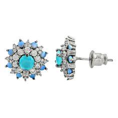 5.28cts aqua chalcedony topaz 925 sterling silver stud earrings c9541
