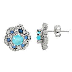 4.69cts aqua chalcedony topaz 925 sterling silver stud earrings c9556