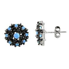 3.59cts aqua chalcedony topaz 925 sterling silver stud earrings c9572
