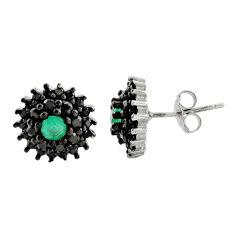 3.83cts aqua chalcedony topaz 925 sterling silver stud earrings c9610