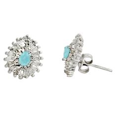 4.34cts aqua chalcedony topaz 925 sterling silver stud earrings c9653