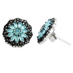 5.18cts aqua chalcedony topaz 925 sterling silver stud earrings c9656